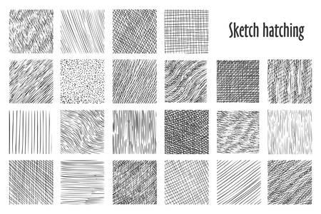 Schizzi modelli di tratteggio, sfondi vettoriali disegnati a mano astratti. Schizzo a matita lineare e modelli di scarabocchio, linee incrociate, ondulate e parallele, trama grafica di schizzi di tratteggio Vettoriali