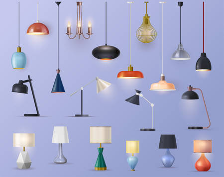 Lams and chandeliers, vector realistic sets, house illumination and electric furniture decor. Modern and classic lamps, night and table lanterns, kitchen and room glass lamps, interior design elements Archivio Fotografico - 138476355