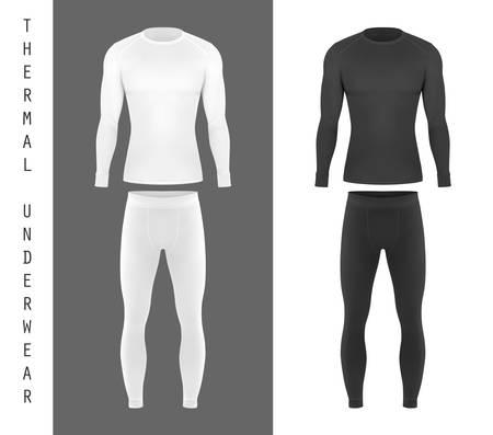 Sous-vêtements thermiques pour hommes, sous-vêtements à manches longues et pantalons, modèles de maquette vectorielle. Ensemble de sous-vêtements thermiques noir et blanc, vêtements d'hiver et de ski, vue de face de vêtements de sport