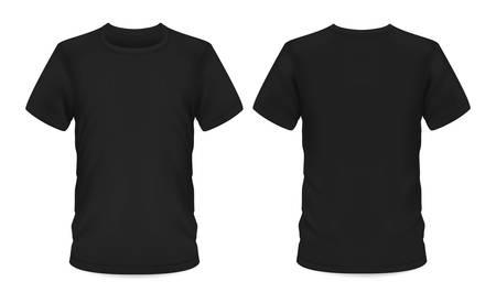Camiseta de hombre, plantilla de maqueta de vector negro con manga corta y cuello redondo. Maqueta de camiseta, ropa casual masculina y ropa deportiva, vista frontal y posterior