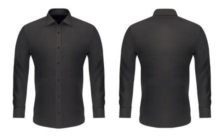 Men dress shirt, vector black mockup template with long sleeves, buttons and collar. Shirt mock up slim model, menswear casual and formal apparel clothing, front and back view Stock Vector - 138506596