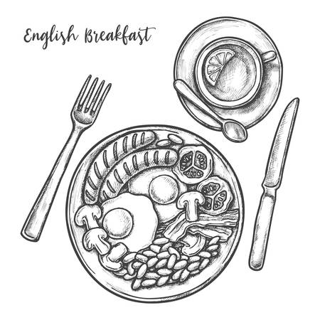English breakfast menu, vector sketch illustration of restaurant menu. Hand drawn sketch of traditional English breakfast eggs, bacon and grilled sausages with baked beans and tea with lemon