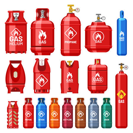Gas cylinder containers of different types and colors with pressure or volume measure gauges. Industrial gas cylinders and flammable danger signs propane, helium, oxygen, acetylene, nitrogen and argon Ilustração