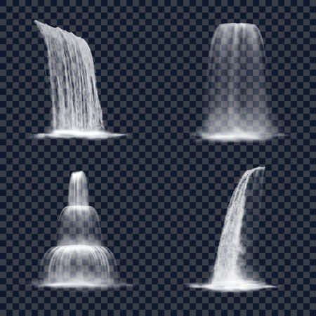 Realistic mountain waterfall on transparent background. Set of cascade nature fountain for hill. River or stream decorative water splash. Liquid of niagara or victoria. Scenery water design