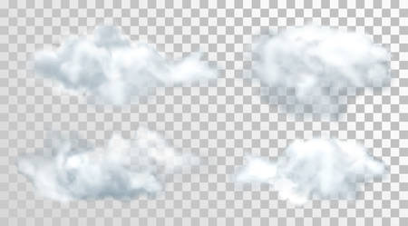 Realistic or 3d clouds. Set of isolated heaven or sky objects on transparent background. Cumulus and fluffy cloud or steam, smoke or vapor. Weather forecast and meteorology, nature theme