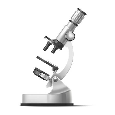 Microscope vector realistic 3d model laboratory equipment. Microscope with detailed elements, chemistry research and microbiology science, scientific technology magnifying equipment