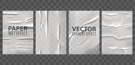 Glued paper with wet wrinkled effect, vector posters on transparent background. Badly glued paper or wheatpaste adhesive foil with crumpled and wrinkle texture overlay Иллюстрация
