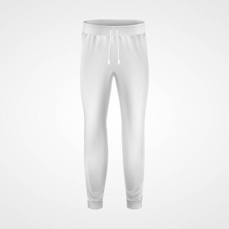 Pantalon de jogging blanc, modèle de modèle de maquette vectorielle. Pantalons de jogging ou de survêtement, vêtements de sport pour hommes et femmes ou modèle vierge de vêtements décontractés pour la conception de marque