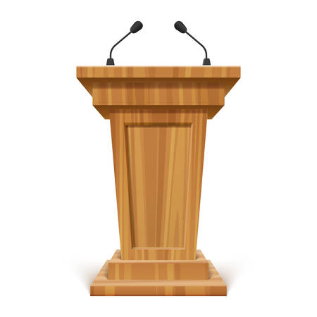 Wooden realistic podium or pedestal with microphone