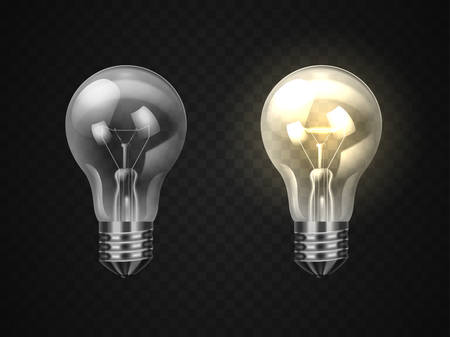 Set of off and on realistic lamp or 3d lightbulb