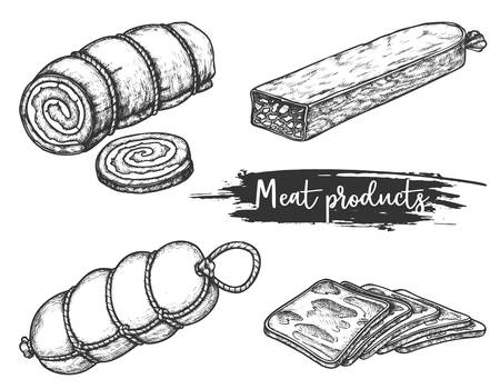 Set of meat products in retro sketch style Vettoriali