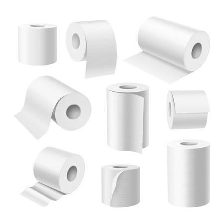 Realistic toilet paper rolls, kitchen paper towels Ilustracje wektorowe