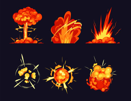Explosion bursts, fire flame bangs and booms icons 矢量图像