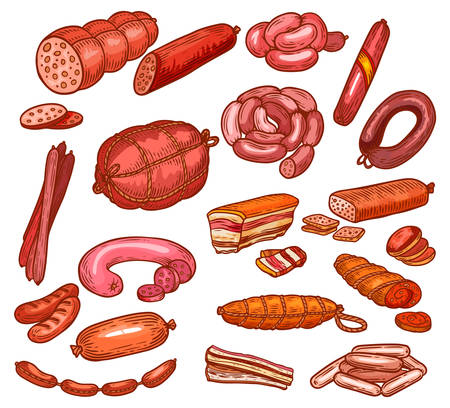 Sausages and meat, butchery shop deli food sketch