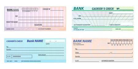 Set of isolated vector bank check or banking blank cheque. Money or financial paper. Finance or payment background or template. Checkbook or chequebook. Cashier and voucher, investing theme