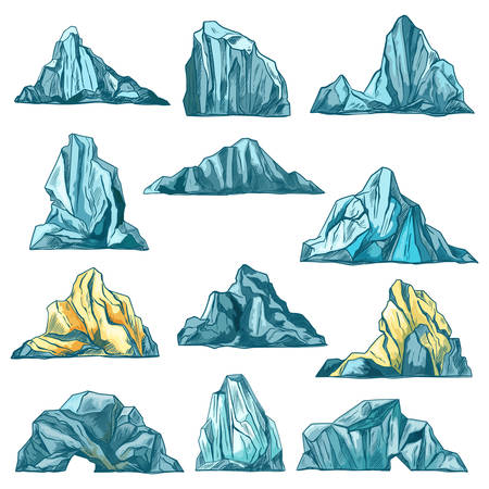 Icebergs or mountain rocks vector sketch icons. Hand drawn isolated cartoon icebergs and mountain rocks and frozen mount hills or icy glacier peaks in sketch hatching Illusztráció