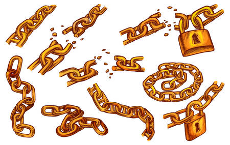 Broken chain with lock, vector sketch icons of cracked links and keylocks. Hand drawn golden broken chain elements, freedom break, prison escape, connection breakout and bound locked slavery concept