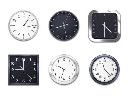 Realistic wall clocks with modern clockface round and square isolated mockup models. Wall clock modern dial clockfaces of silver metal or plastic with hour and minute arrows, Arabic and Roman numbers