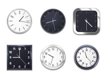 Horloges murales réalistes avec des modèles de maquettes isolées rondes et carrées modernes. Horloge murale cadrans modernes en métal argenté ou en plastique avec flèches des heures et des minutes, chiffres arabes et romains