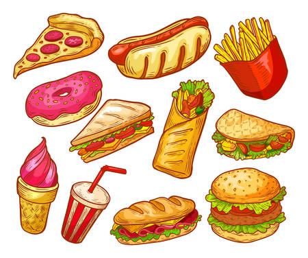 Fast food sketch, sandwiches, burgers, snacks and drinks, vector isolated icons. Fastfood menu elements, pizza, potato fries, cheeseburger, Mexican taco and hot dog, donut, ice cream dessert and soda Vector Illustratie