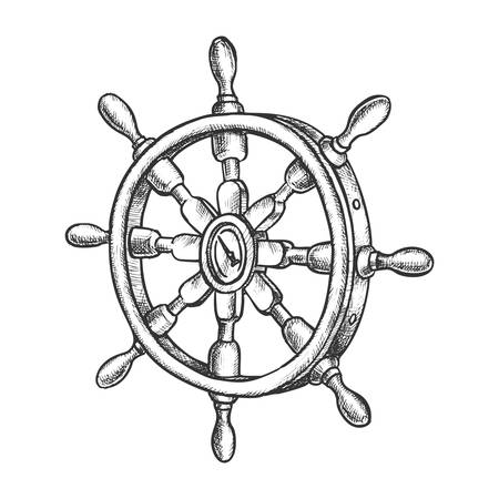 Sketch of vintage ship steering wheel or 3d boat rudder. Antique hand drawn schooner or yacht control symbol. Isolated vessel handel icon. Marine and nautical, seaman and and sailing, sail, navigation