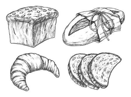 Isolated vector illustration of cereal food, bread Illusztráció