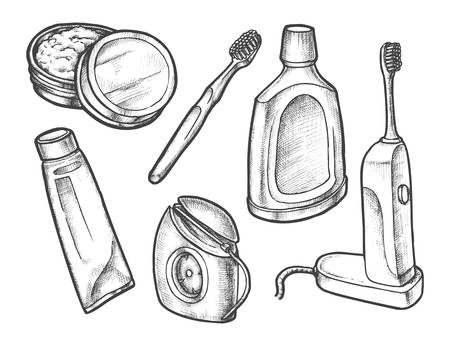 Set of isolated sketch of tooth care symbols. Electric toothbrush and toothpaste in tube, toothpowder and liquid for mouthwash, teeth whitening. Oral or mouth hygiene, powder, paste, brush, dentist