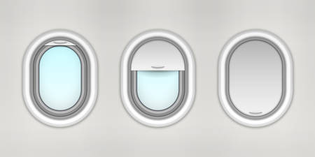 Opened and closed airplane porthole, plane window