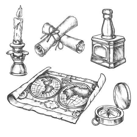 Sketch of candle, vintage map, scroll, compass