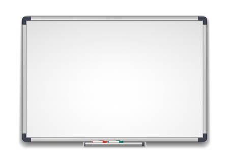 Whiteboard, marker white school board realistic vector