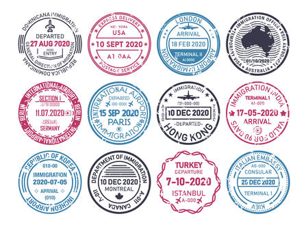 Passport visa stamps, airport immigration control vector