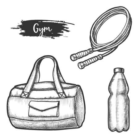 Sport exercise items sketches. Gym equipment vector