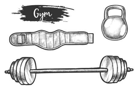 Sketch of powerlifting or weightlifting equipment vector