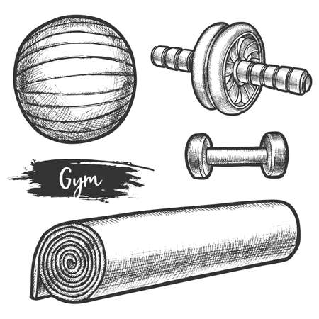 Set of isolated equipment for fitness gym or aerobics Illustration
