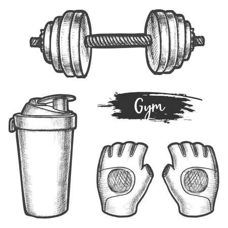 Set of isolated gym equipment vector sketch