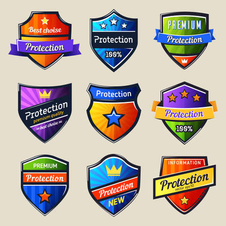 Set of isolated shields for protection.Safety icon