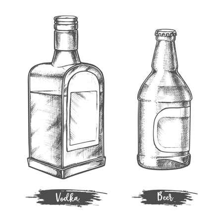 Alcohol drink bottles sketch of vodka and beer Illustration