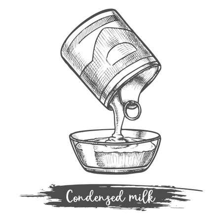 Dairy product sketch condensed milk pouring, bowl