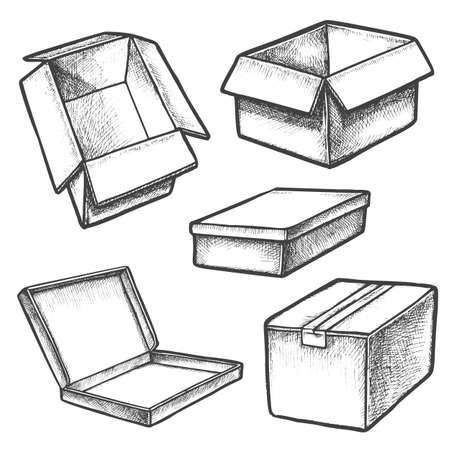 Set of box sketches or cargo containers. Package