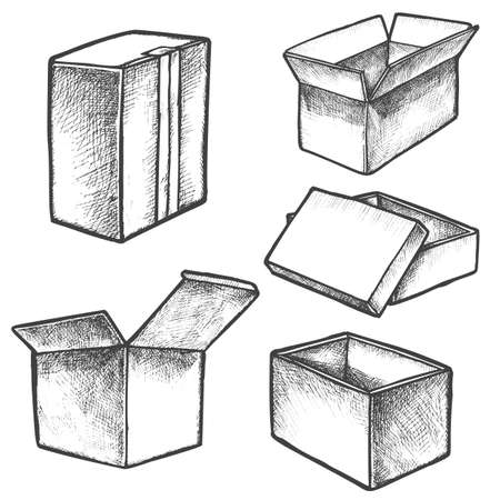Isolated boxes sketches or hand drawn realistic cube containers.