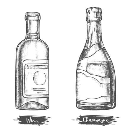 Alcohol drink bottles sketch of wine and champagne
