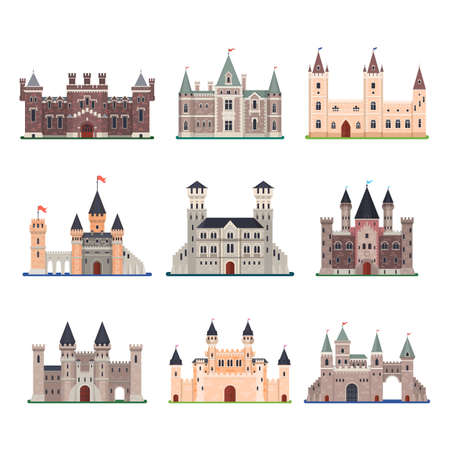 Set of isolated vector medieval castle with tower Illustration