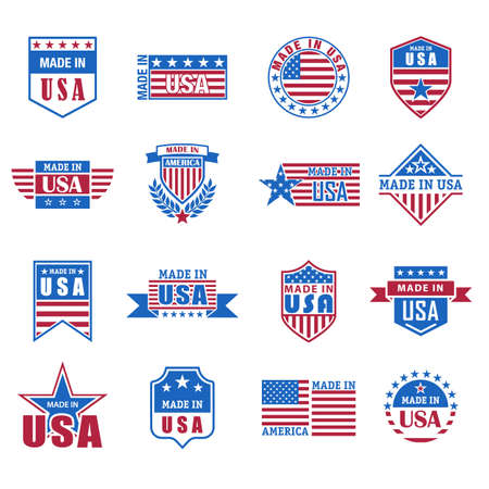 Set of made in USA icon with flag and stars Illustration