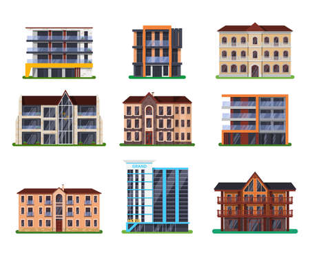 Set of isolated modern vector hotel buildings