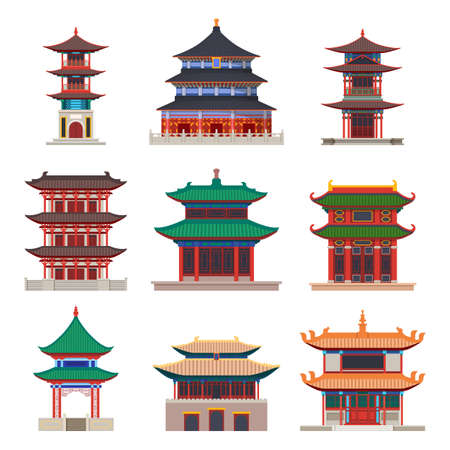 Pagoda building. Chinese or japanese construction vector