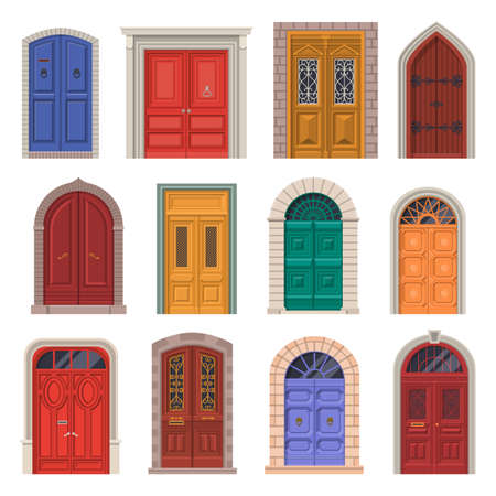 Old door vector icon or vintage house entrance