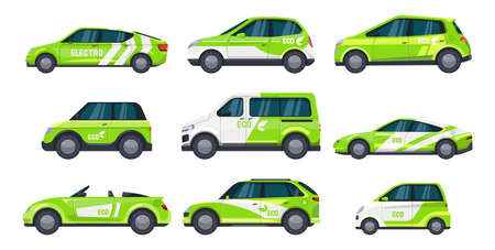 Set of eco car or electric auto, green transport Illustration