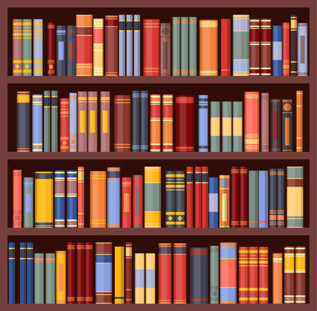 Bookshelf background, bookcase with books, vector library Vector Illustration