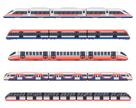 Trains, subways and metro railway transport wagons Векторная Иллюстрация