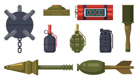 Bombs weapon, military grenades and dynamite vector